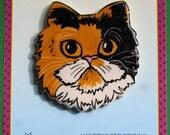 Calico Long Hair Cat pin handmade