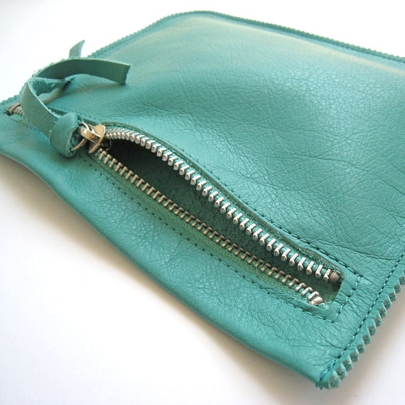 Turquoise Leather Pouch, Leather Wallet, Small Leather Clutch in Genuine Leather