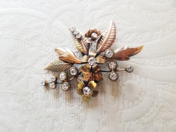 SALE, Vintage bouquet brooch, art nouveau jewelry, brass, copper and rhinestones
