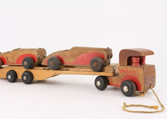 1940's Wooden Car Carrier with Two Cars - Holgate Toys