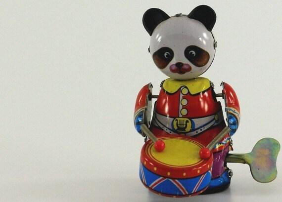 Vintage Panda Bear Tin Toy wind-up - Takes his drumming seriously