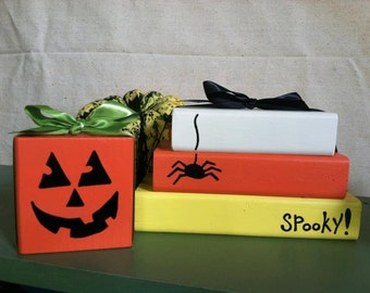 candy corn and pumpkin halloween decor wooden block sets
