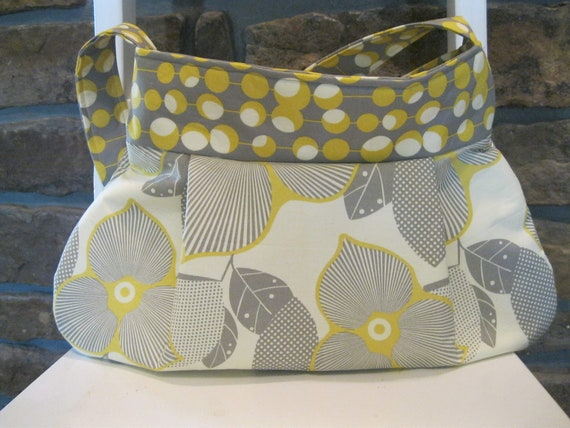 Handmade Fabric Bags Purses -  Amy Butler Fabrics - Yellow and Grey