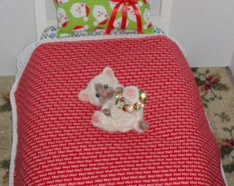 Ho Ho Santa 18 in Doll Bedding