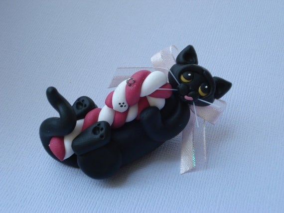 Black cat Christmas ornament polymer clay figurine