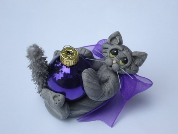 Polymer Clay Christmas Ornament Gray Maine Coon Tabby Cat Personalized Figurine