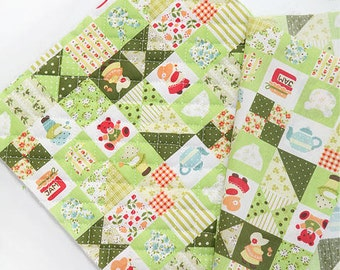 Quilted Sunbonnet Sue Patch in Green Cotton Blend per Yard 23486