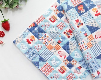 Quilted Sunbonnet Sue Patch in Blue Cotton Blend per Yard 23492