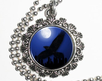 Flying Raven Crow Art Pendant, Black Bird and Full Moon Resin Art Pendant, Photo Charm Necklace