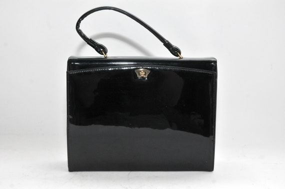 Vintage Garay Black Patent Purse UNIQUE Mid Century Mad Men Style 1940s 1950s 1960s