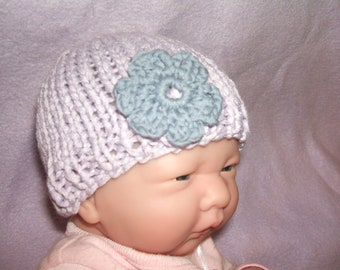 SALE soft and cute hand knitted baby hat 100% bamboo yarn lilac with flower small newborn