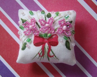 Dollhouse Miniature Pillow-Tiny Beaded Cranberry Bouquet