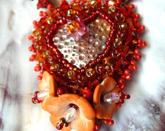 SALE Bead embroidered red orange polymer clay flowers and handmade copper heart necklace Pendant beadwork OOAK