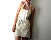 Tan Ikat Apron - beige and white diamond adjustable cotton hostess apron with ruffles, pockets