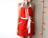 Red Hot Apron - bright orange white geometric tribal pattern retro adjustable cotton hostess apron with ruffles, pockets