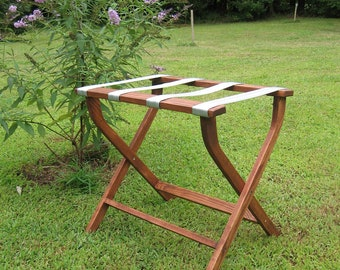 Hand made (USA) luggage rack, red oak, gray webbing. Crafted with care & attention to detail.