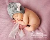 Newborn Baby Girl, Bonnet, Grey and Pink, Soft Photography Prop, Crochet, Knit hat, beanie, thin stitch, baby hat, newborn