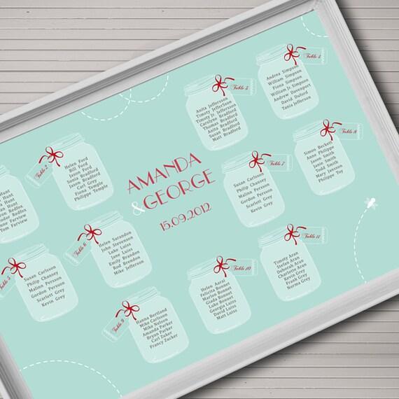 Seating chart printable. Wedding theme Mason jar. Table chart DIY.