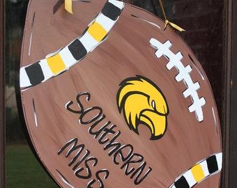 Wood University of Southern Miss Football Door Hanger