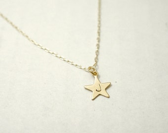 Star necklace - personalized initial brass charm on gold filled - customized dainty jewelry