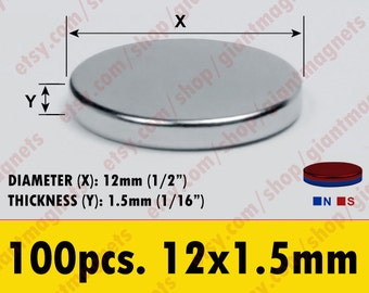 100 pcs. 12mm - (1/2 inch) Neodymium Rare Earth Super Strong Magnets