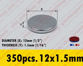 350 pcs. 12mm - (1/2 inch) Neodymium Rare Earth Super Strong Magnets