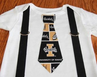 University of Idaho Vandals boys Suspenders and Tie onesie or shirt