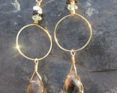 Gold Loop Earrings with Smoky Quartz and Aquamarine