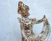 Gorgeous Gold Gilded Siam Exotic Dancer Figurine Signed Gilner - Vintage Home Decor