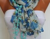 Blue Floral Pompom Crinckle Shawl Scarf Headband Necklace Cowl