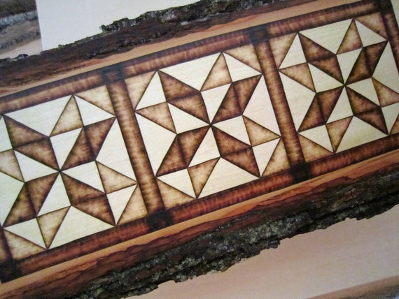 Wall Decor Quilt Pattern pyrography - Log Cabin Wood Art