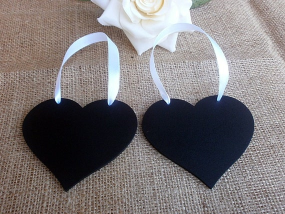 Wedding Decor Chalkboard Hearts - SET of 2 for Mr and Mrs Chair Signs, Reserved Seating. Photo Booth Prop