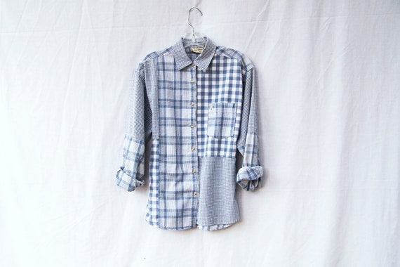 1990s oxford stripe plaid patchwork button down boyfriend shirt / long sleeve / cotton shirt / grunge /light blue and white
