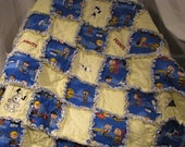Large Baby/Toddler Bed  Rag Quilt with Snoopy Embroidery Designs