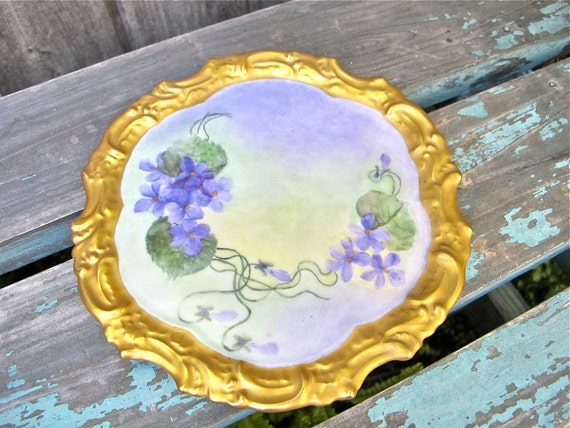Reserved for ABBRAS  ---  Vintage T&V Limoges Plate Rare Hand Painted Violets Gilded Edge Collectible