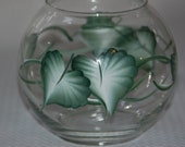 Green Leaves Hand Painted Glass Bowl