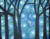 Original Tree Painting, Blue Circles Tree, 8x10 Acrylic Painting Canvas, Tree and Swirls Artwork, Wall Decor, Gift Idea, Abstract Background