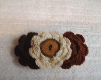 Crochet Flower Hair Clip -Brown and Beige Hair Clip - Handmade Flowers - Boutique Hair Clip