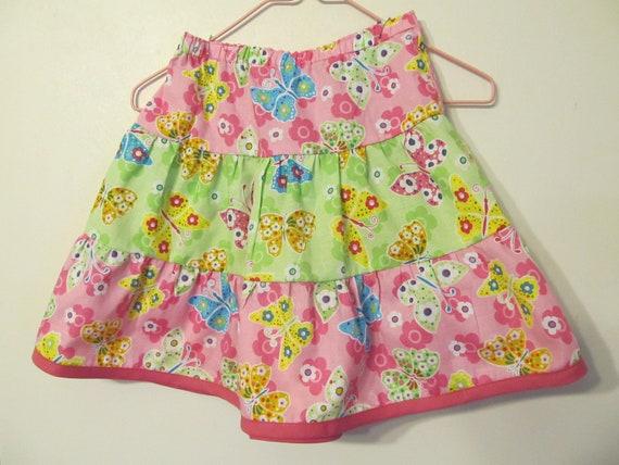 TwirlySkirt, Toddler Girl's Skirt, Ruffled skirt, handmade, pink and green material,  butterflies, spring / summer, Size 3t