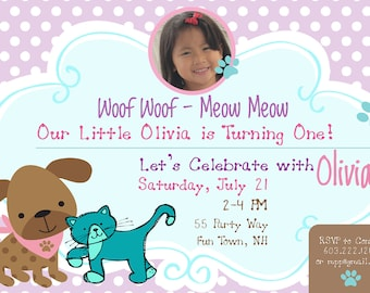 Dog and Cat Birthday Party Invitations Printable Dog & Cat Invites Cat and Dog Invitations Polka Dots Photo Card Pink Purple Teal ANY AGE