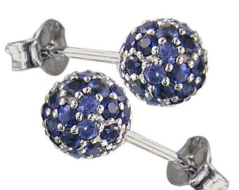 Graduating Blue Sapphire Ombre Ball Earrings 925 Sterling Silver Round Earrings(2ct tw) (2ct tw) SKU: 1834-925