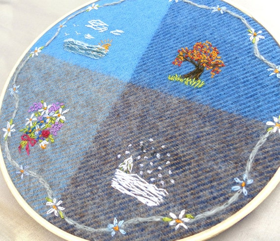 "Embroidered hoop art ""4 seasons""Summer, Winter, Spring and Fall done on Pendleton blue and gray wool"