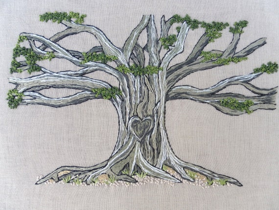 Banyan tree sketch embroidery illustration