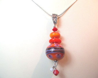 Necklace glass pendant red orange purple lampwork beads with crystals