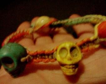 Rainbow hemp skull beaded bracelet