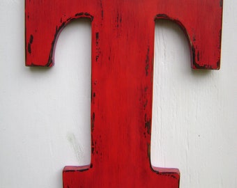 """wedding decor rustic wall hanging initals Letter T, Hanging Wood Letters,Nursery Letters,12"""" tall wooden letter,painted True Red"""