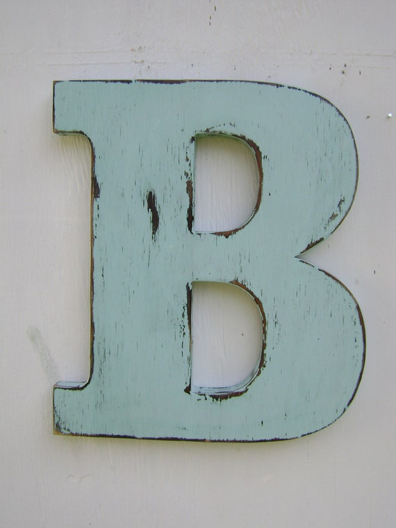 Items similar to rustic wood wedding decor letter b distressed spa blu wood alphabet letters 12 - Wood letter wall decor ...