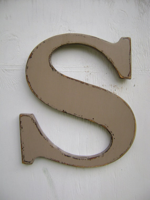 Alphabet wooden letter wall hanging S baby room shabby chic rustic decor ..wall hanging letters- Khaki Tan