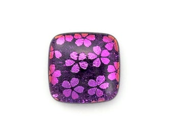 Purple Flowers, Dichroic Glass Cabochon For Custom Jewelry Made by You or Me