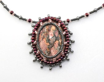 Bead Embroidered Leopard Stone Jasper Cab Pendant with Seed Bead Necklace